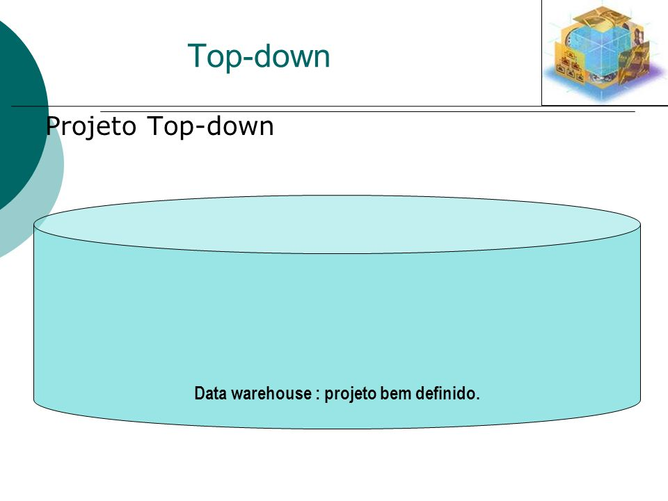Data warehouse : projeto bem definido. Top-down Projeto Top-down