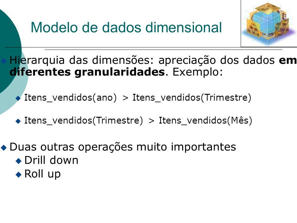u Hierarquia das dimensões: apreciação dos dados em diferentes granularidades. Exemplo: u Itens_vendidos(ano) > Itens_vendidos(Trimestre) u Itens_vend