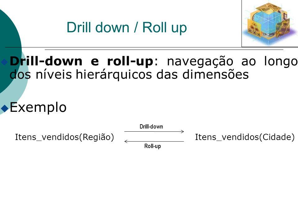 Drill down / Roll up u Drill-down e roll-up: navegação ao longo dos níveis hierárquicos das dimensões u Exemplo Itens_vendidos(Região) Itens_vendidos(