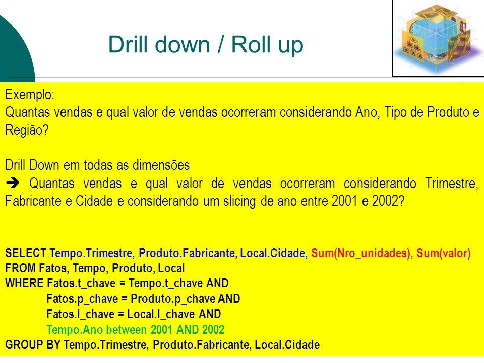 Drill down / Roll up Drill-down sobre as três dimensões simultaneamente. Exemplo: Quantas vendas e qual valor de vendas ocorreram considerando Ano, Ti