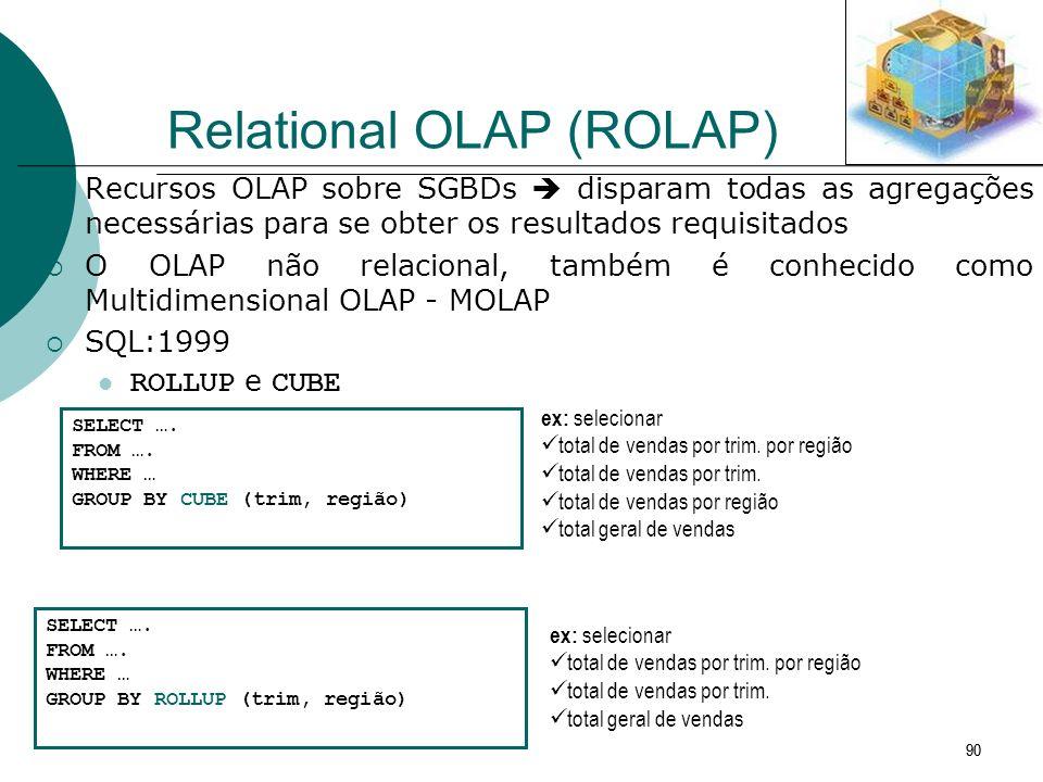 90 Relational OLAP (ROLAP) Recursos OLAP sobre SGBDs disparam todas as agregações necessárias para se obter os resultados requisitados O OLAP não rela