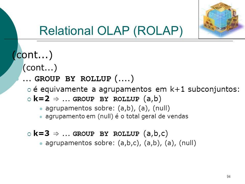 94 Relational OLAP (ROLAP) (cont...)... GROUP BY ROLLUP (....) é equivamente a agrupamentos em k+1 subconjuntos: k=2... GROUP BY ROLLUP (a,b) agrupame