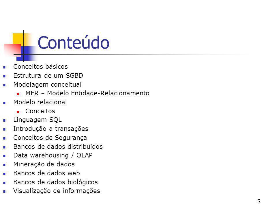 3 Conteúdo Conceitos básicos Estrutura de um SGBD Modelagem conceitual MER – Modelo Entidade-Relacionamento Modelo relacional Conceitos Linguagem SQL