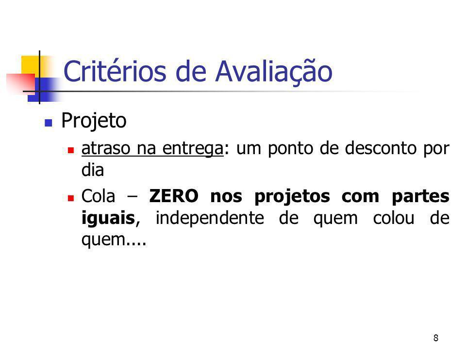 8 Critérios de Avaliação Projeto atraso na entrega: um ponto de desconto por dia Cola – ZERO nos projetos com partes iguais, independente de quem colo