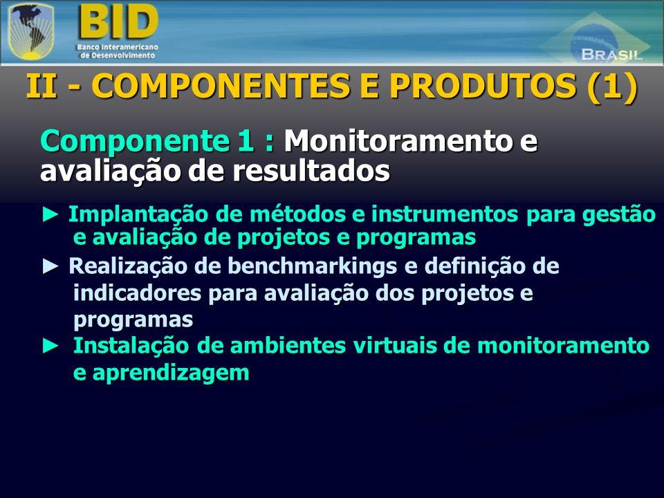 Componente 1 : Monitoramento e avaliação de resultados estão e avaliação de projetos e programas Implantação de métodos e instrumentos para gestão e avaliação de projetos e programas ndicadores para avaliação dos projetos e programas Realização de benchmarkings e definição de indicadores para avaliação dos projetos e programas Instalação de ambientes virtuais de monitoramento e aprendizagem Instalação de ambientes virtuais de monitoramento e aprendizagem II - COMPONENTES E PRODUTOS (1)