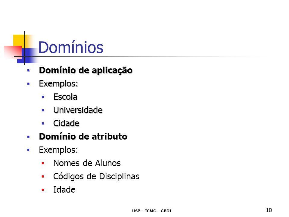 10 Domínio de aplicaçãoDomínio de aplicação Exemplos:Exemplos: EscolaEscola UniversidadeUniversidade CidadeCidade DomínioDomínio de atributo Exemplos: