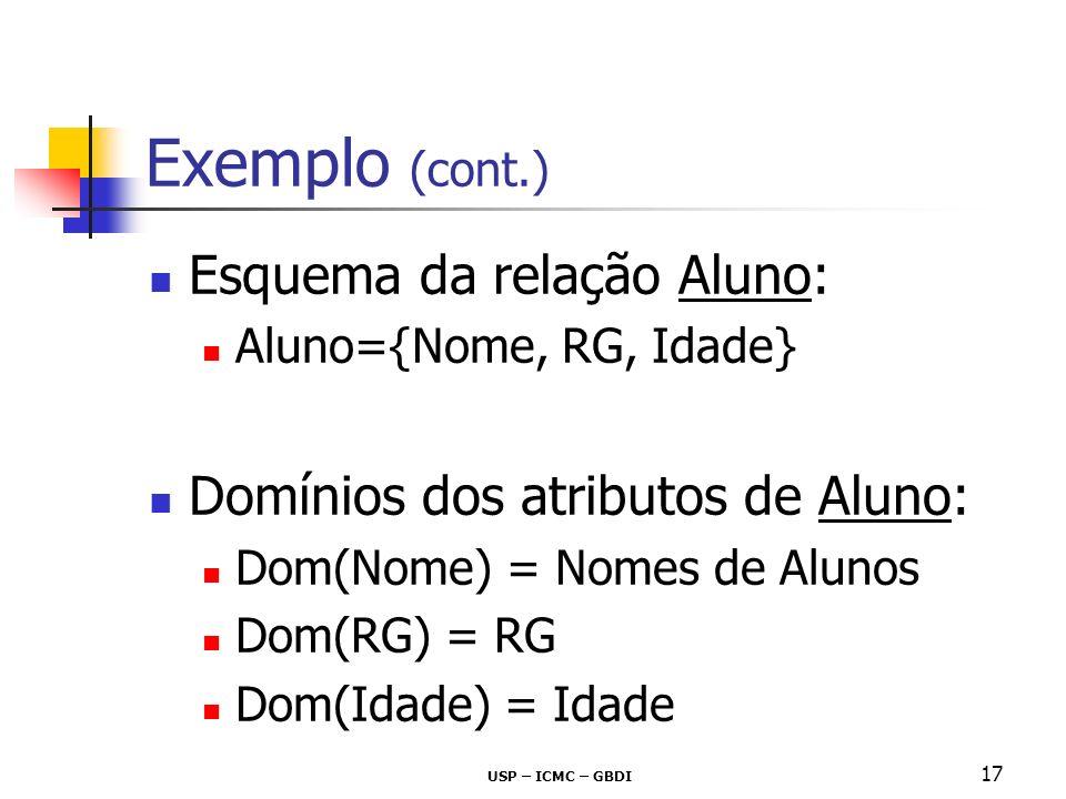 USP – ICMC – GBDI 17 Exemplo (cont.) Esquema da relação Aluno: Aluno={Nome, RG, Idade} Domínios dos atributos de Aluno: Dom(Nome) = Nomes de Alunos Do
