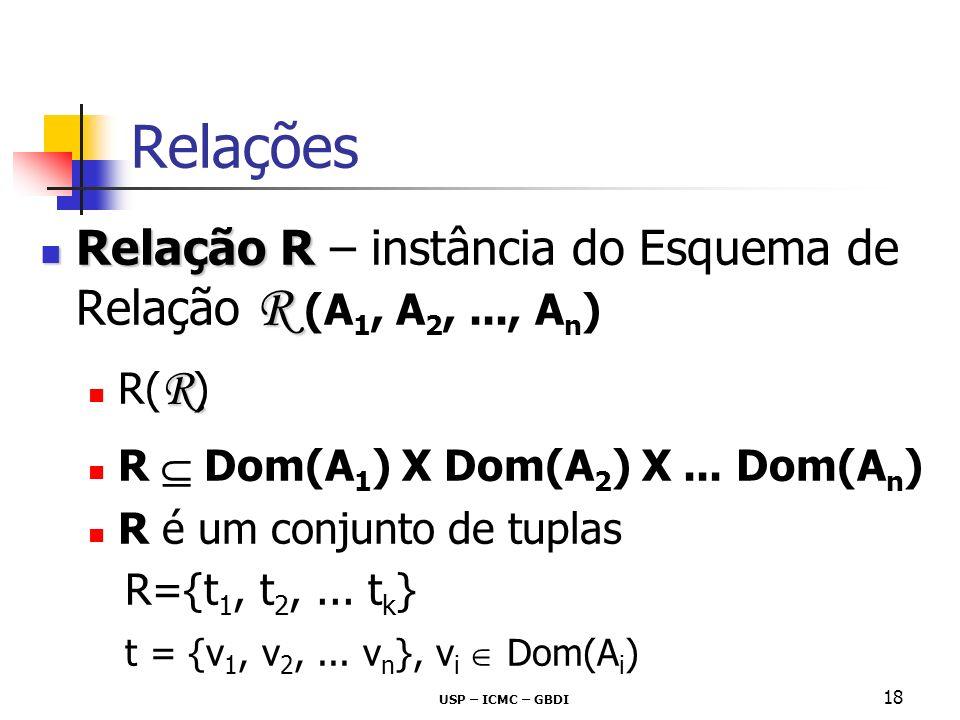 USP – ICMC – GBDI 18 Relações Relação R R Relação R – instância do Esquema de Relação R (A 1, A 2,..., A n ) R R( R ) R Dom(A 1 ) X Dom(A 2 ) X... Dom