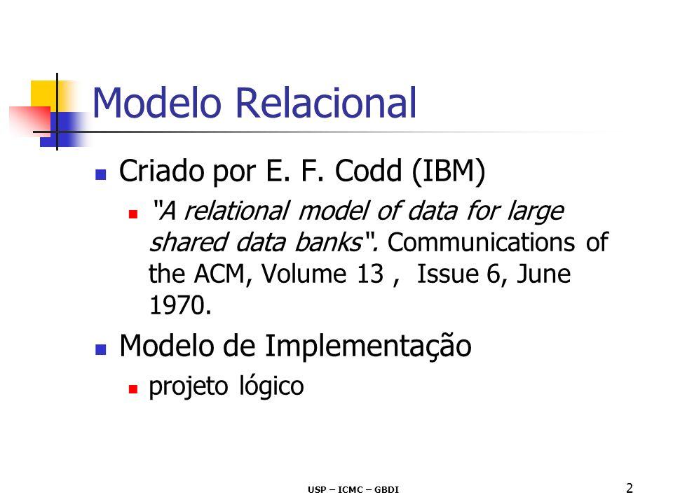 Criado por E. F. Codd (IBM) A relational model of data for large shared data banks. Communications of the ACM, Volume 13, Issue 6, June 1970. Modelo d