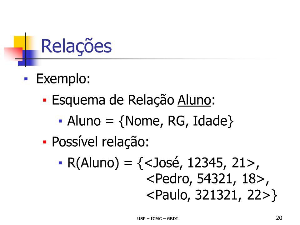 USP – ICMC – GBDI 20 Exemplo: Esquema de Relação Aluno: Aluno = {Nome, RG, Idade} Possível relação: R(Aluno) = {,, } Relações
