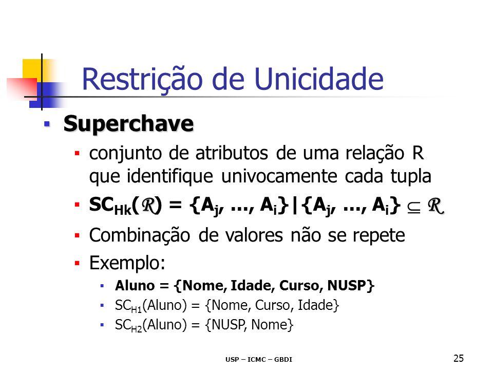 USP – ICMC – GBDI 25 SuperchaveSuperchave conjunto de atributos de uma relação R que identifique univocamente cada tupla RR SC Hk ( R ) = {A j,..., A