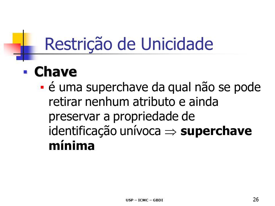 USP – ICMC – GBDI 26 ChaveChave é uma superchave da qual não se pode retirar nenhum atributo e ainda preservar a propriedade de identificação unívoca