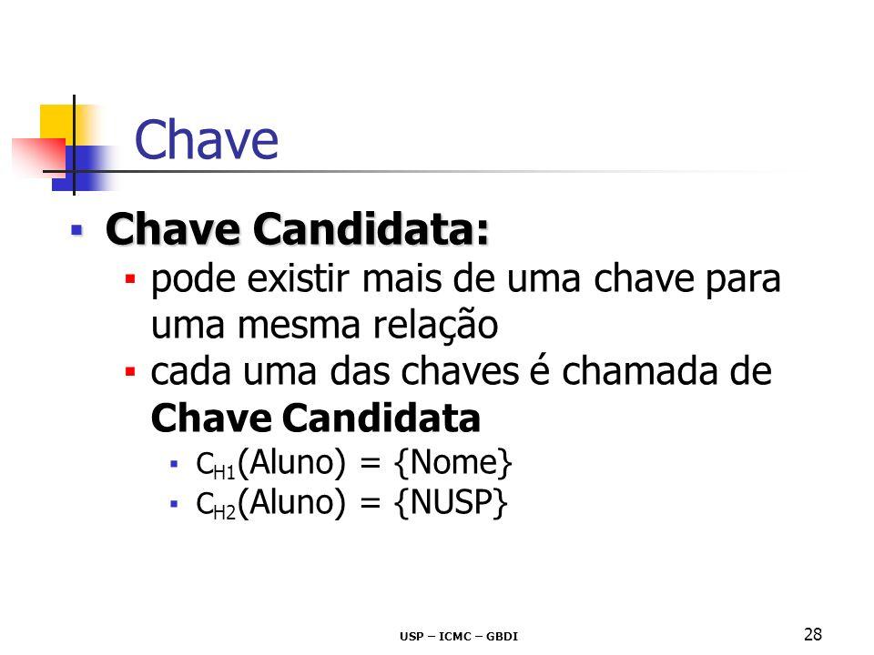 USP – ICMC – GBDI 28 Chave Candidata:Chave Candidata: pode existir mais de uma chave para uma mesma relação cada uma das chaves é chamada de Chave Can