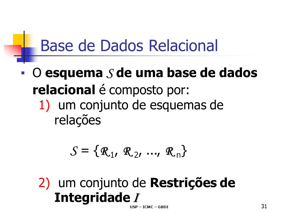 USP – ICMC – GBDI 31 S O esquema S de uma base de dados relacional é composto por: 1) um conjunto de esquemas de relações S R R R S = { R 1, R 2,...,