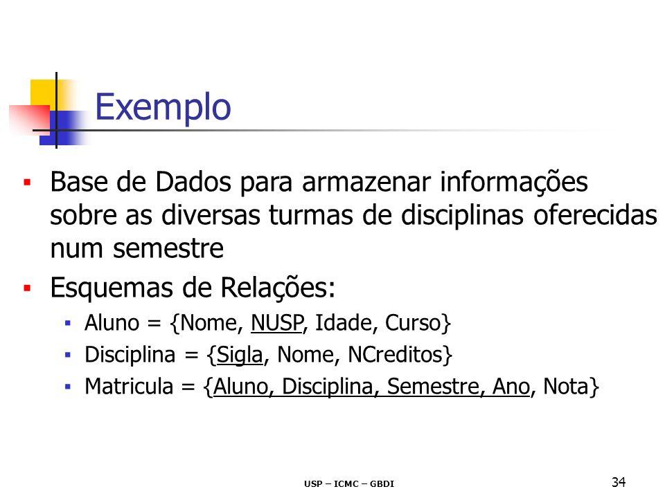USP – ICMC – GBDI 34 Base de Dados para armazenar informações sobre as diversas turmas de disciplinas oferecidas num semestre Esquemas de Relações: Al