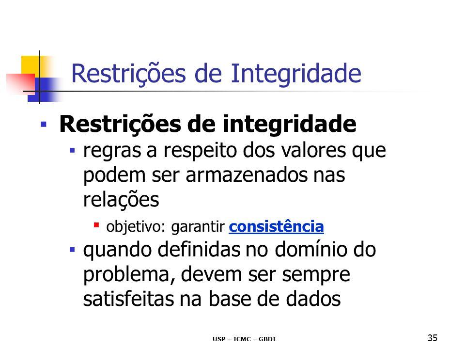 USP – ICMC – GBDI 35 Restrições de integridade regras a respeito dos valores que podem ser armazenados nas relações objetivo: garantir consistência qu