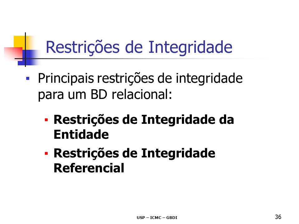 USP – ICMC – GBDI 36 Principais restrições de integridade para um BD relacional: Restrições de Integridade da Entidade Restrições de Integridade Refer