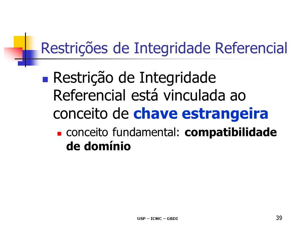 USP – ICMC – GBDI 39 Restrição de Integridade Referencial está vinculada ao conceito de chave estrangeira conceito fundamental: compatibilidade de dom