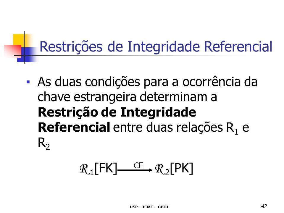USP – ICMC – GBDI 42 As duas condições para a ocorrência da chave estrangeira determinam a Restrição de Integridade Referencial entre duas relações R