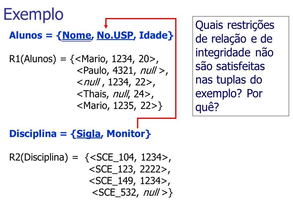 Alunos = {Nome, No.USP, Idade} R1(Alunos) = {,, } Disciplina = {Sigla, Monitor} R2(Disciplina) = {,, } Exemplo Quais restrições de relação e de integr