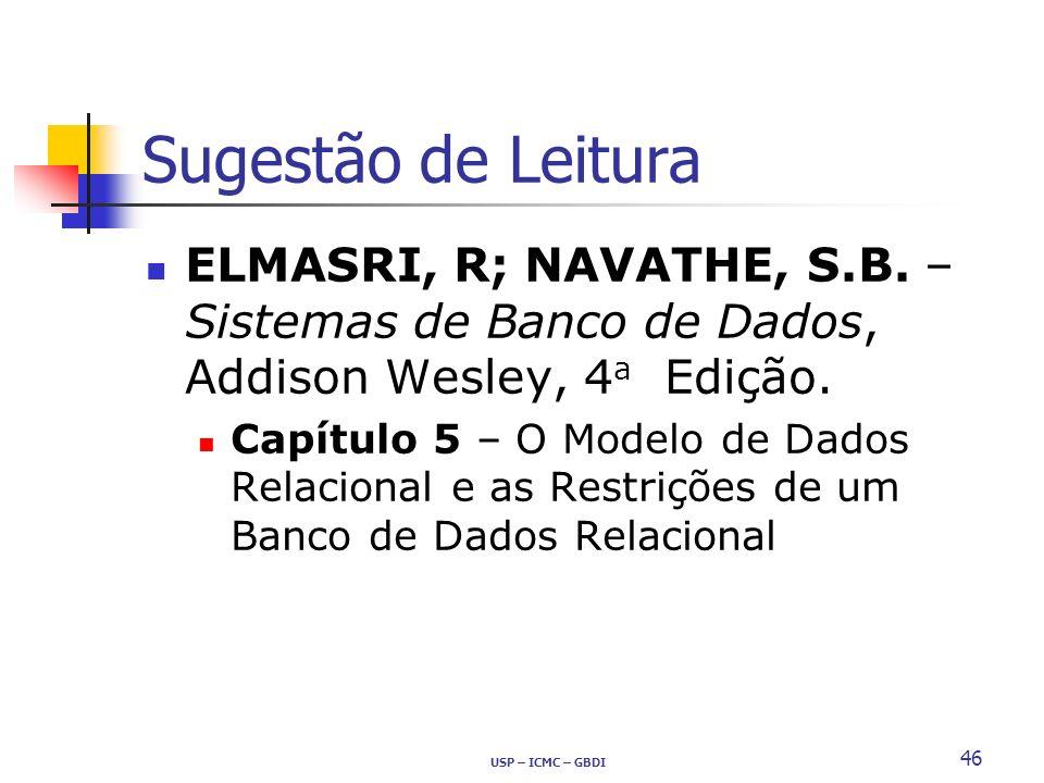 Sugestão de Leitura ELMASRI, R; NAVATHE, S.B. – Sistemas de Banco de Dados, Addison Wesley, 4 a Edição. Capítulo 5 – O Modelo de Dados Relacional e as