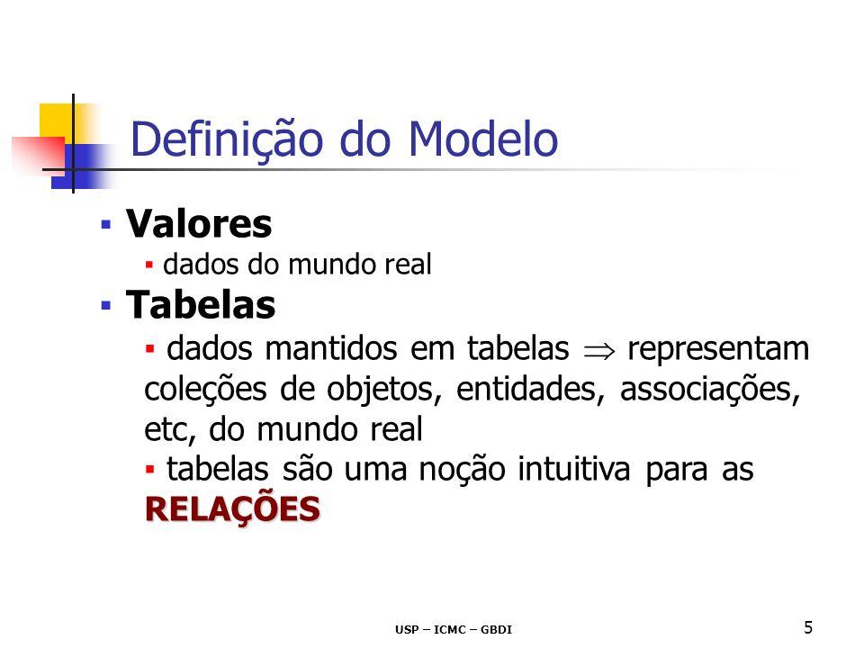 USP – ICMC – GBDI 5 Definição do Modelo Valores dados do mundo real Tabelas dados mantidos em tabelas representam coleções de objetos, entidades, asso