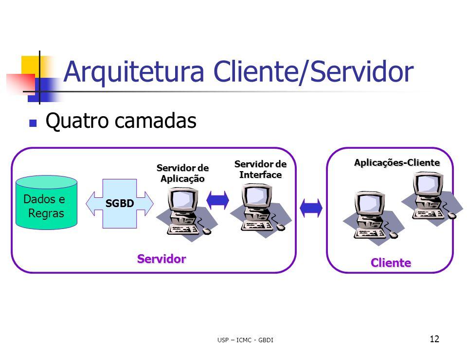 USP – ICMC - GBDI 12 Arquitetura Cliente/Servidor Quatro camadas Dados e Regras SGBD Servidor Cliente Aplicações-Cliente Servidor de Aplicação Servido