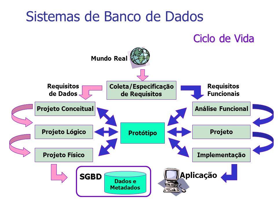 Ciclo de Vida Projeto Conceitual Projeto Lógico Projeto Físico Análise Funcional Projeto Implementação Coleta/Especificação de Requisitos Dados e Meta