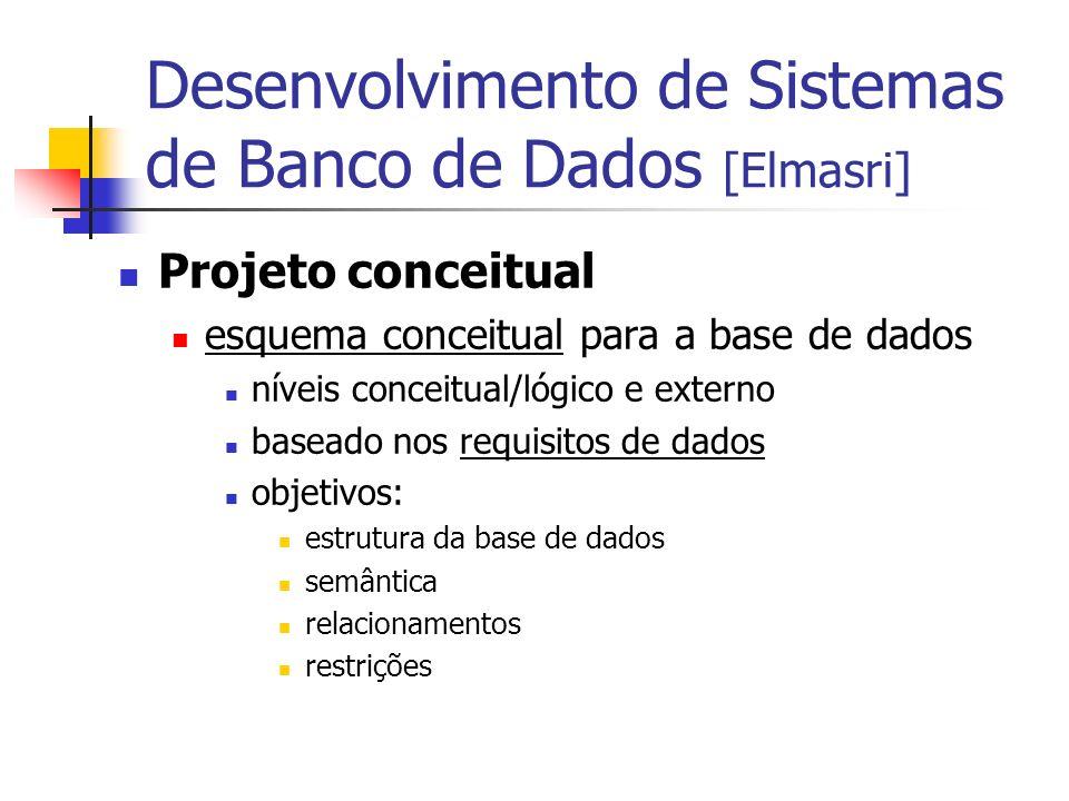 Projeto conceitual esquema conceitual para a base de dados níveis conceitual/lógico e externo baseado nos requisitos de dados objetivos: estrutura da