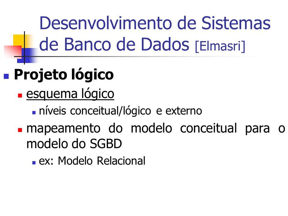 Desenvolvimento de Sistemas de Banco de Dados [Elmasri] Projeto lógico esquema lógico níveis conceitual/lógico e externo mapeamento do modelo conceitu
