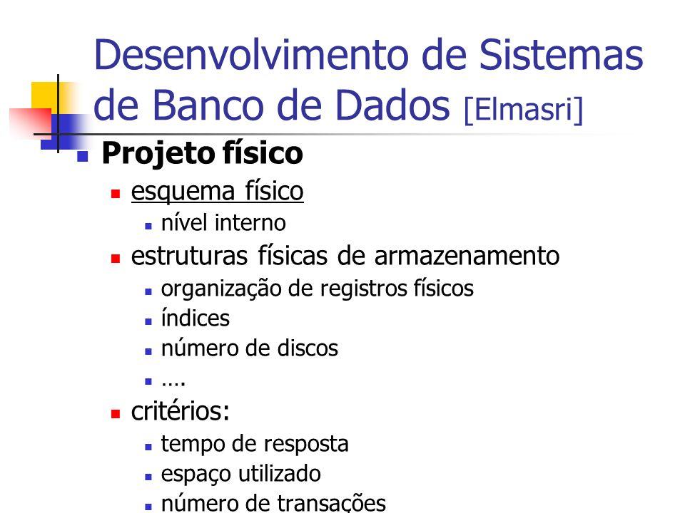 Desenvolvimento de Sistemas de Banco de Dados [Elmasri] Projeto físico esquema físico nível interno estruturas físicas de armazenamento organização de
