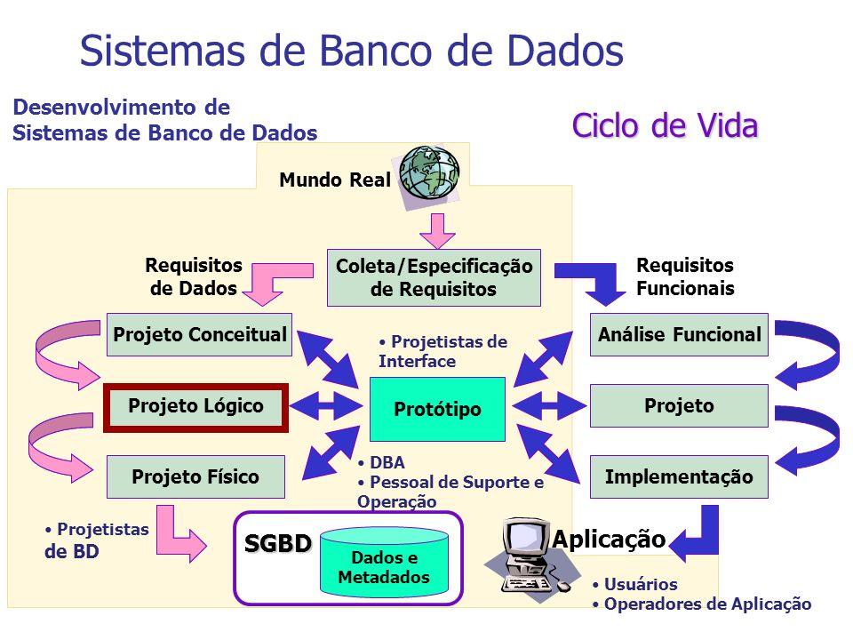 Ciclo de Vida Sistemas de Banco de Dados Dados e Metadados SGBD Aplicação Mundo Real Requisitos Funcionais Requisitos de Dados Desenvolvimento de Sist