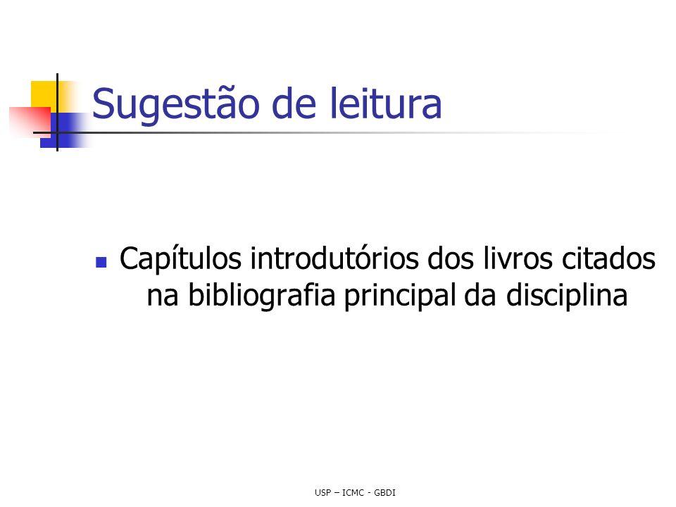 Sugestão de leitura Capítulos introdutórios dos livros citados na bibliografia principal da disciplina USP – ICMC - GBDI