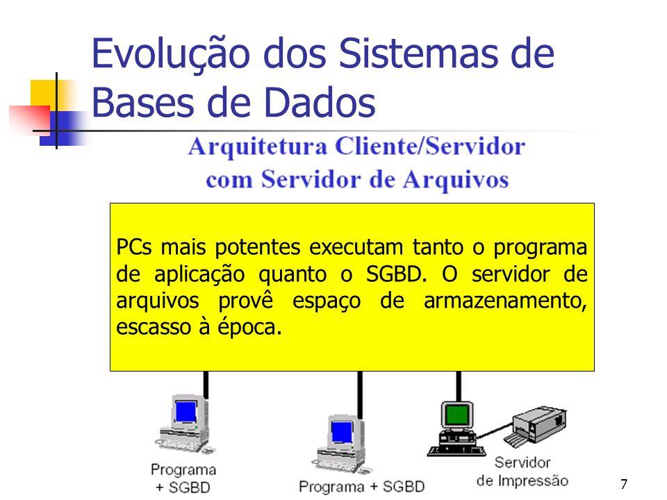 USP – ICMC - GBDI 7 Evolução dos Sistemas de Bases de Dados PC PCs mais potentes executam tanto o programa de aplicação quanto o SGBD. O servidor de a
