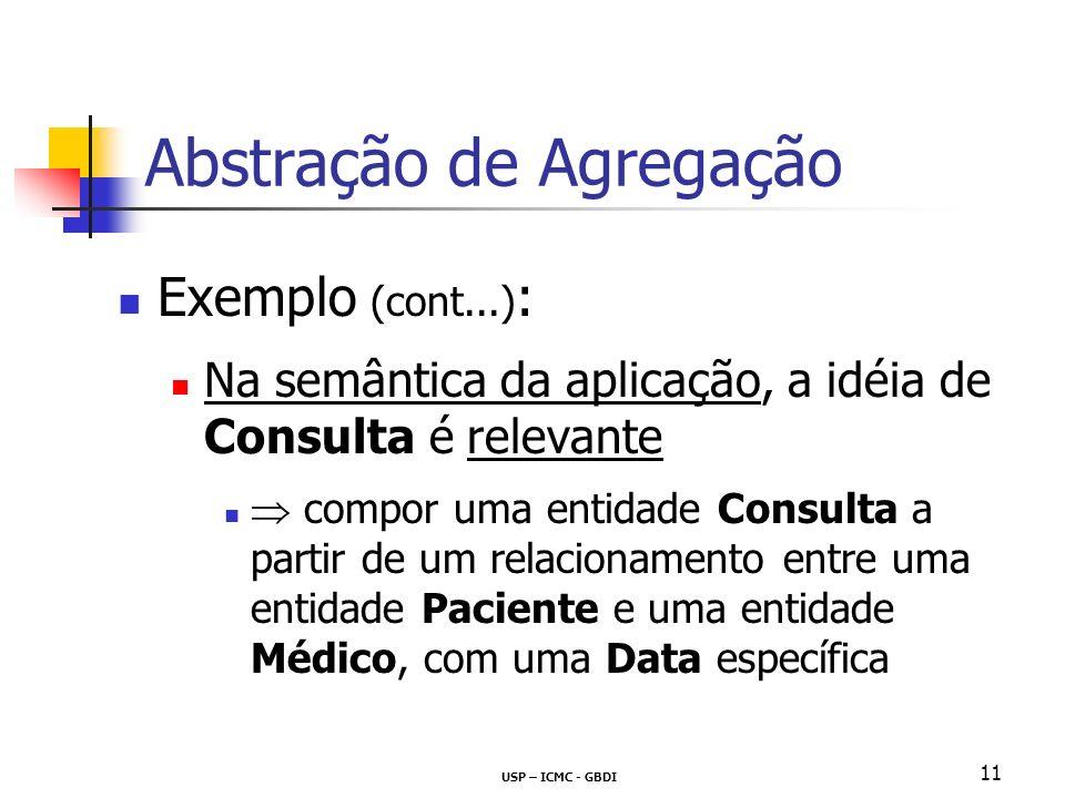 USP – ICMC - GBDI 11 Abstração de Agregação Exemplo (cont...) : Na semântica da aplicação, a idéia de Consulta é relevante compor uma entidade Consulta a partir de um relacionamento entre uma entidade Paciente e uma entidade Médico, com uma Data específica