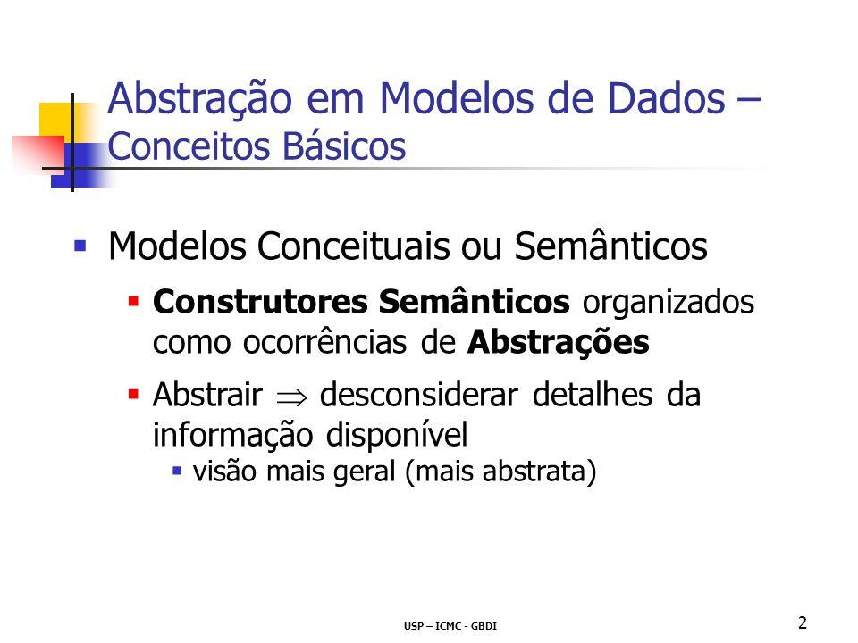 USP – ICMC - GBDI 2 Modelos Conceituais ou Semânticos Construtores Semânticos organizados como ocorrências de Abstrações Abstrair desconsiderar detalhes da informação disponível visão mais geral (mais abstrata) Abstração em Modelos de Dados – Conceitos Básicos