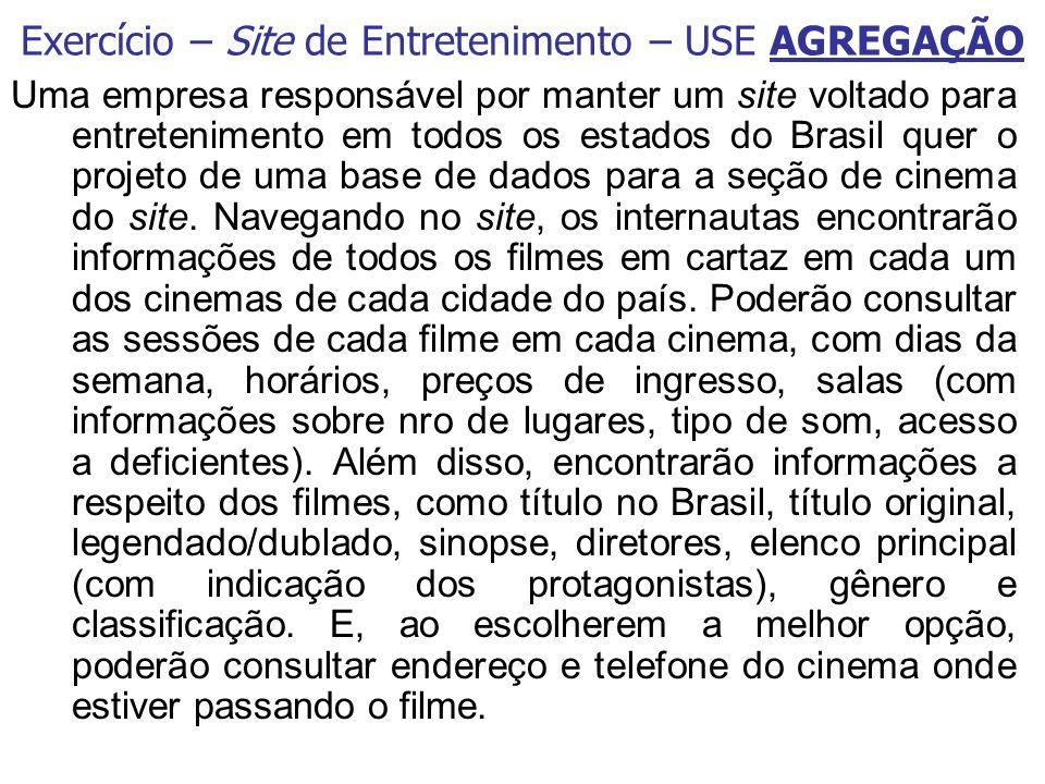 Uma empresa responsável por manter um site voltado para entretenimento em todos os estados do Brasil quer o projeto de uma base de dados para a seção de cinema do site.