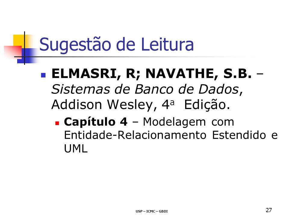 Sugestão de Leitura ELMASRI, R; NAVATHE, S.B. – Sistemas de Banco de Dados, Addison Wesley, 4 a Edição. Capítulo 4 – Modelagem com Entidade-Relacionam