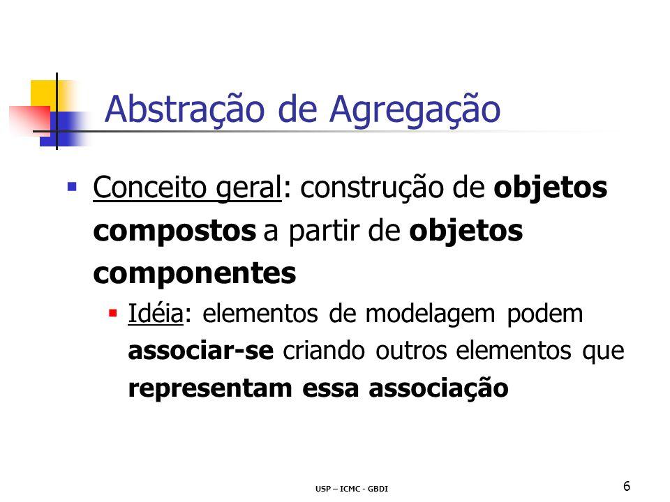 USP – ICMC - GBDI 6 Conceito geral: construção de objetos compostos a partir de objetos componentes Idéia: elementos de modelagem podem associar-se criando outros elementos que representam essa associação Abstração de Agregação