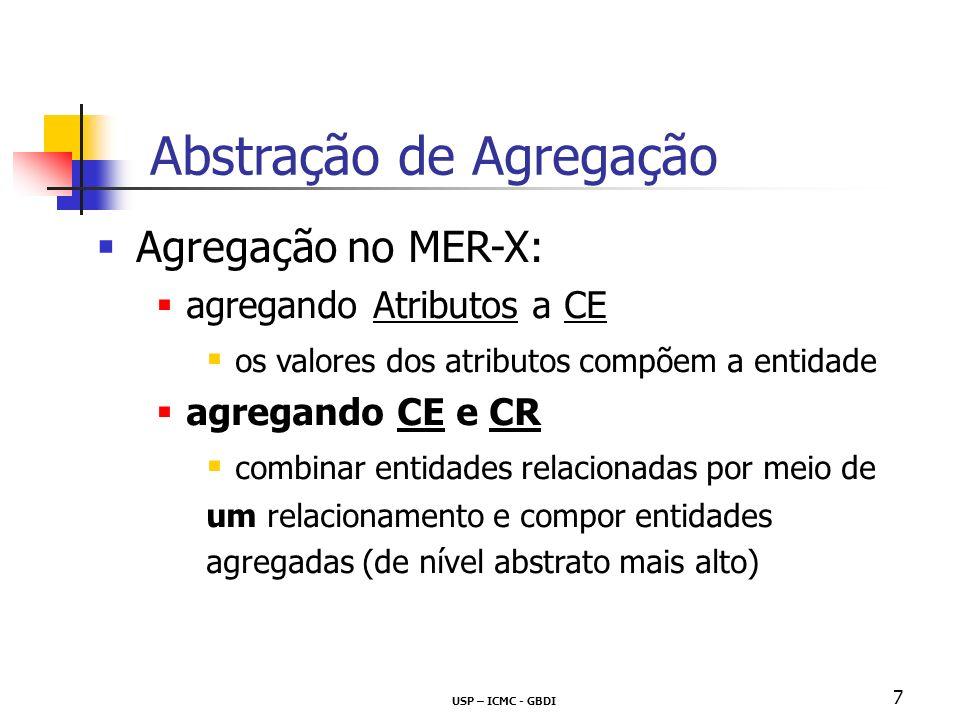 USP – ICMC - GBDI 7 Agregação no MER-X: agregando Atributos a CE os valores dos atributos compõem a entidade agregando CE e CR combinar entidades relacionadas por meio de um relacionamento e compor entidades agregadas (de nível abstrato mais alto) Abstração de Agregação