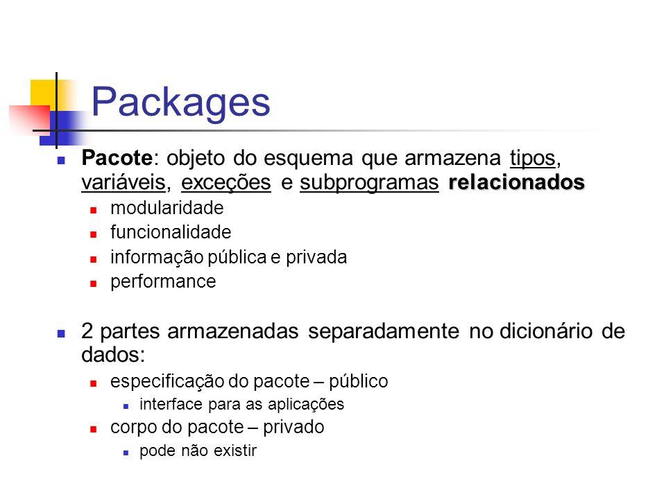Packages relacionados Pacote: objeto do esquema que armazena tipos, variáveis, exceções e subprogramas relacionados modularidade funcionalidade informação pública e privada performance 2 partes armazenadas separadamente no dicionário de dados: especificação do pacote – público interface para as aplicações corpo do pacote – privado pode não existir