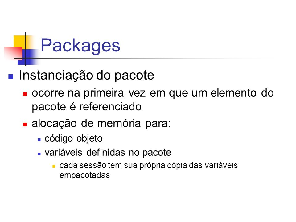 Especificação e Corpo do Pacote /* especificação do pacote */ CREATE OR REPLACE PACKAGE PacoteAluno AS /* pode ser IS*/ e_naoEncontrado EXCEPTION; PROCEDURE retira_aluno (p_aluno Aluno.NUSP%TYPE); END PacoteAluno; /* para compilar especificação e corpo juntos*/ /* corpo do pacote */ CREATE OR REPLACE PACKAGE BODY PacoteAluno AS PROCEDURE retira_aluno (p_aluno Aluno.NUSP%TYPE) AS BEGIN DELETE FROM Aluno WHERE NUSP = p_aluno; IF SQL%NOTFOUND THEN RAISE e_naoEncontrado; END IF; END retira_aluno; END PacoteAluno;
