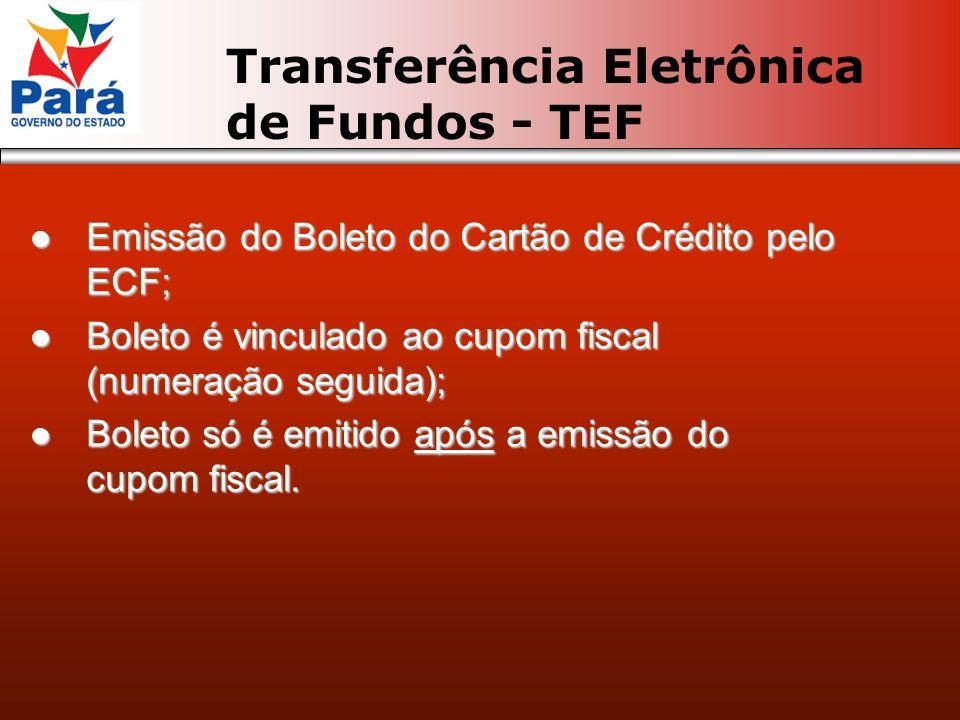 Emissão do Boleto do Cartão de Crédito pelo ECF; Emissão do Boleto do Cartão de Crédito pelo ECF; Boleto é vinculado ao cupom fiscal (numeração seguida); Boleto é vinculado ao cupom fiscal (numeração seguida); Boleto só é emitido após a emissão do cupom fiscal.