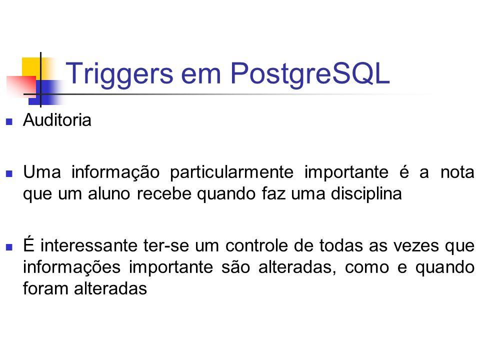 Triggers em PostgreSQL Auditoria Uma informação particularmente importante é a nota que um aluno recebe quando faz uma disciplina É interessante ter-s