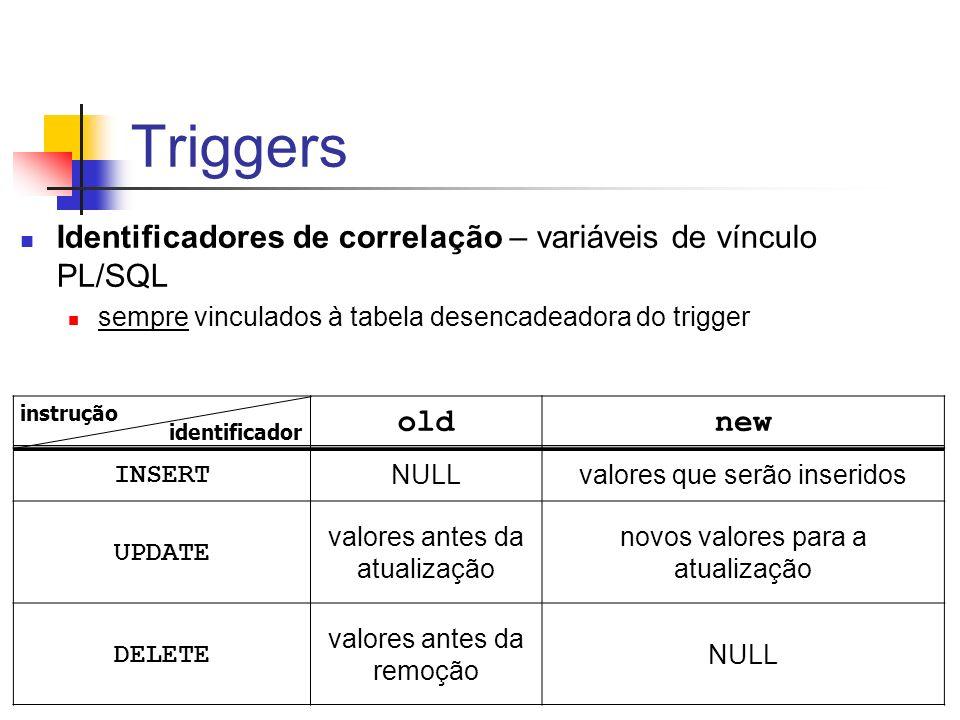 Triggers Identificadores de correlação – variáveis de vínculo PL/SQL sempre vinculados à tabela desencadeadora do trigger oldnew INSERT NULLvalores qu