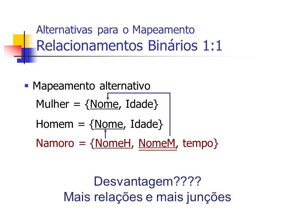 Mapeamento alternativo Mulher = {Nome, Idade} Homem = {Nome, Idade} Namoro = {NomeH, NomeM, tempo} Alternativas para o Mapeamento Relacionamentos Biná