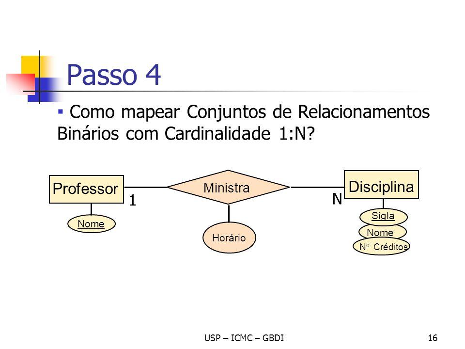 USP – ICMC – GBDI16 Nome Disciplina Nome N o. Créditos Ministra Professor Horário 1 N Passo 4 Sigla Como mapear Conjuntos de Relacionamentos Binários