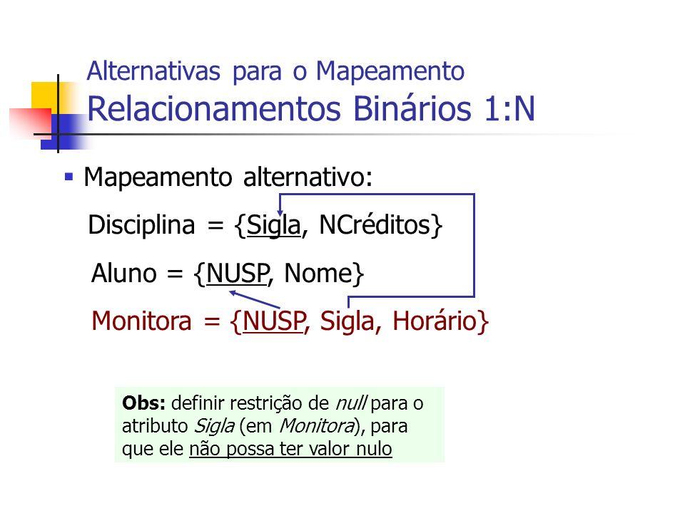 Mapeamento alternativo: Disciplina = {Sigla, NCréditos} Aluno = {NUSP, Nome} Monitora = {NUSP, Sigla, Horário} Alternativas para o Mapeamento Relacion