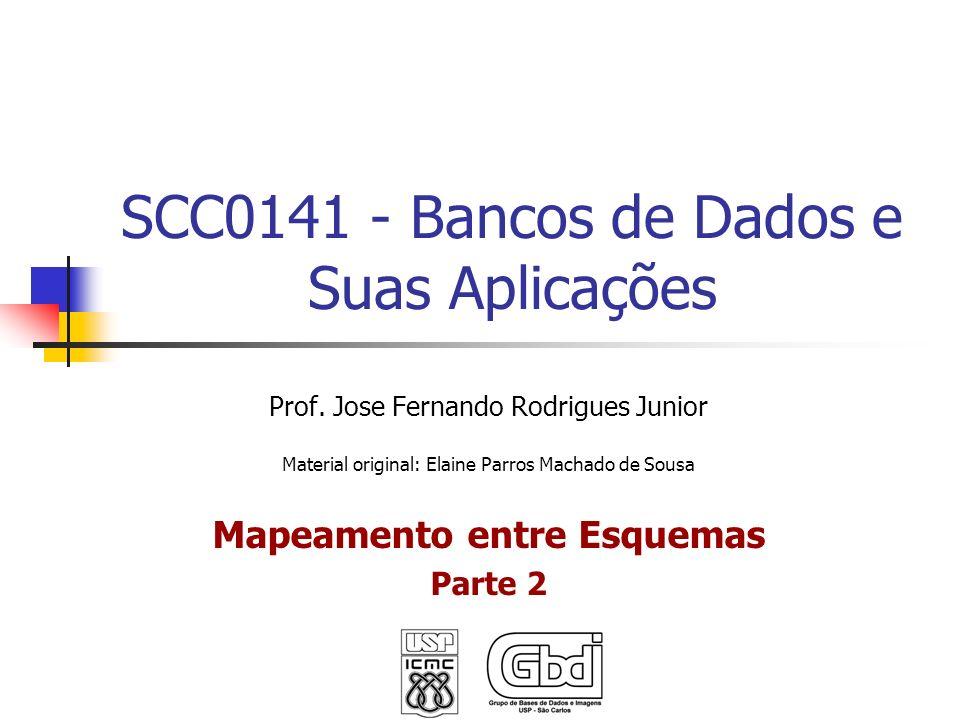 SCC0141 - Bancos de Dados e Suas Aplicações Prof. Jose Fernando Rodrigues Junior Material original: Elaine Parros Machado de Sousa Mapeamento entre Es