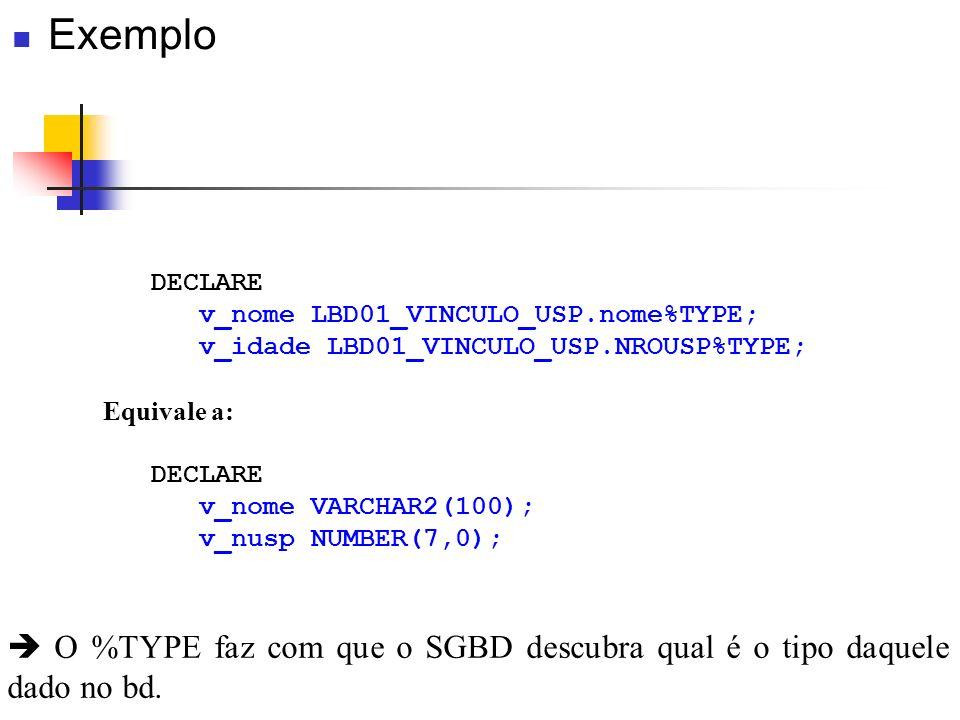 DECLARE v_nome LBD01_VINCULO_USP.nome%TYPE; v_idade LBD01_VINCULO_USP.NROUSP%TYPE; Equivale a: DECLARE v_nome VARCHAR2(100); v_nusp NUMBER(7,0); O %TY